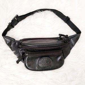 90s Flight Fax Vintage Black Pu Leather Fanny Pack